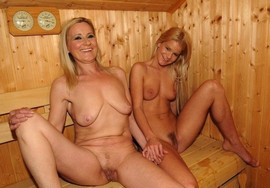 Mother and daughter in the sauna.