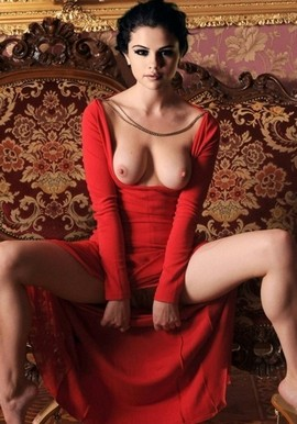 Selena Gomez Beautiful tits shown while wearing kinky red dress!.