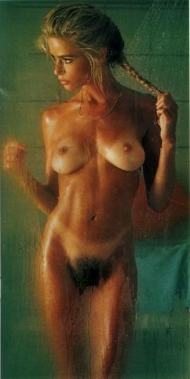 Marianne Gravatte in the shower.