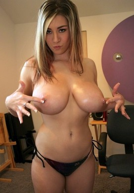 Nude huge pierced breasts have this busty horny girl